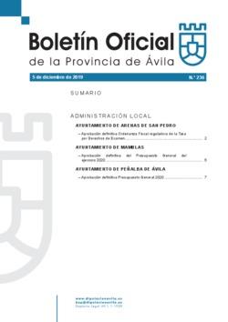 Boletín Oficial de la Provincia del jueves, 5 de diciembre de 2019