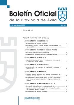 Boletín Oficial de la Provincia del martes, 6 de agosto de 2019