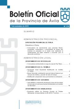 Boletín Oficial de la Provincia del jueves, 7 de noviembre de 2019