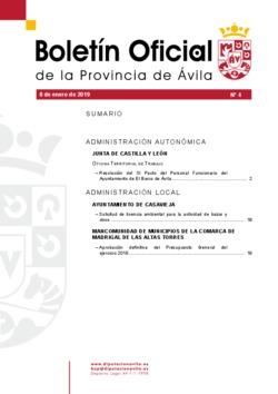 Boletín Oficial de la Provincia del martes, 8 de enero de 2019
