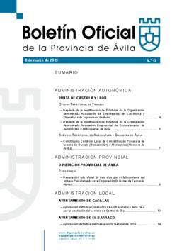 Boletín Oficial de la Provincia del viernes, 8 de marzo de 2019