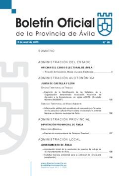 Boletín Oficial de la Provincia del lunes, 8 de abril de 2019