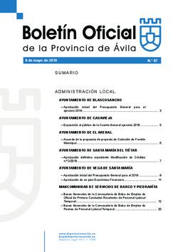 Boletín Oficial de la Provincia del miércoles, 8 de mayo de 2019