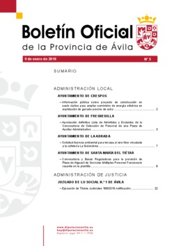 Boletín Oficial de la Provincia del miércoles, 9 de enero de 2019