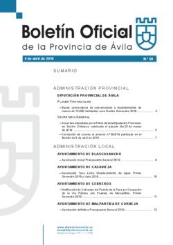 Boletín Oficial de la Provincia del martes, 9 de abril de 2019