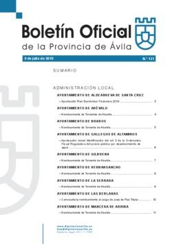 Boletín Oficial de la Provincia del martes, 9 de julio de 2019