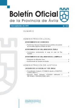 Boletín Oficial de la Provincia del lunes, 9 de septiembre de 2019