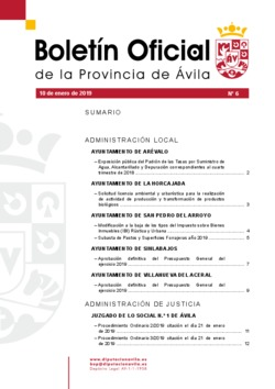 Boletín Oficial de la Provincia del jueves, 10 de enero de 2019