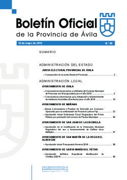 Boletín Oficial de la Provincia del viernes, 10 de mayo de 2019