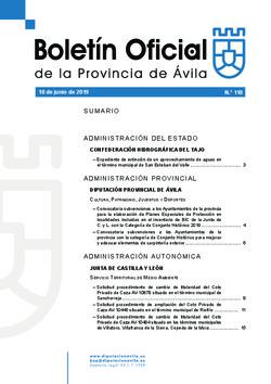 Boletín Oficial de la Provincia del lunes, 10 de junio de 2019