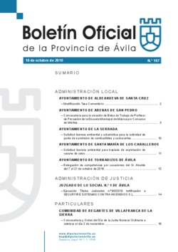 Boletín Oficial de la Provincia del jueves, 10 de octubre de 2019