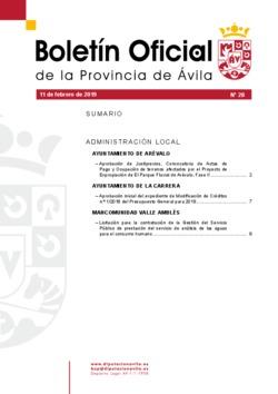 Boletín Oficial de la Provincia del lunes, 11 de febrero de 2019