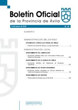 Boletín Oficial de la Provincia del lunes, 11 de marzo de 2019