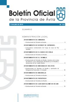Boletín Oficial de la Provincia del jueves, 11 de julio de 2019