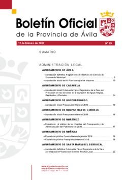 Boletín Oficial de la Provincia del martes, 12 de febrero de 2019