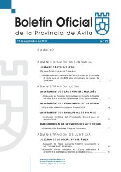 Boletín Oficial de la Provincia del jueves, 12 de septiembre de 2019