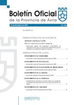 Boletín Oficial de la Provincia del jueves, 12 de diciembre de 2019