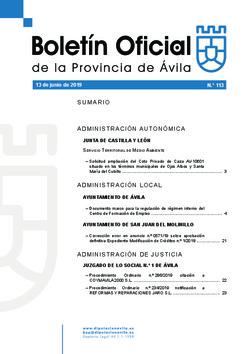 Boletín Oficial de la Provincia del jueves, 13 de junio de 2019