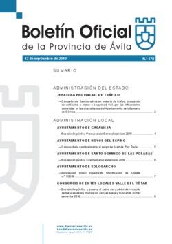 Boletín Oficial de la Provincia del viernes, 13 de septiembre de 2019