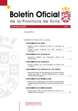 Boletín Oficial de la Provincia del lunes, 14 de enero de 2019