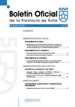 Boletín Oficial de la Provincia del viernes, 14 de junio de 2019