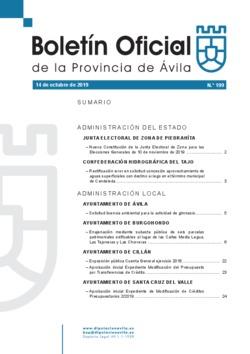 Boletín Oficial de la Provincia del lunes, 14 de octubre de 2019