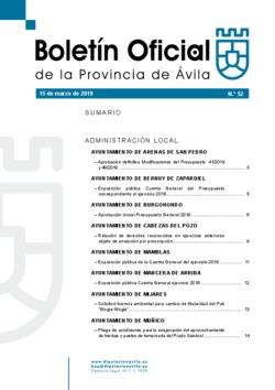 Boletín Oficial de la Provincia del viernes, 15 de marzo de 2019