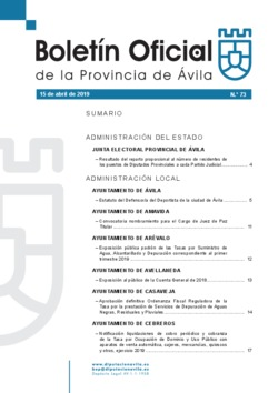 Boletín Oficial de la Provincia del lunes, 15 de abril de 2019