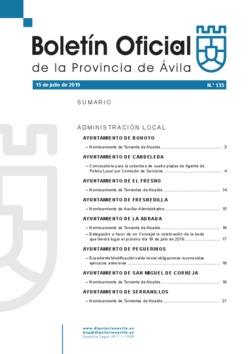 Boletín Oficial de la Provincia del lunes, 15 de julio de 2019