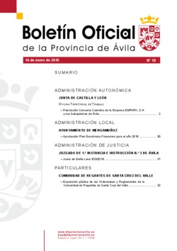 Boletín Oficial de la Provincia del miércoles, 16 de enero de 2019