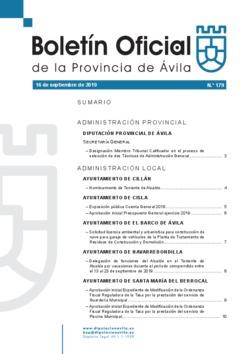 Boletín Oficial de la Provincia del lunes, 16 de septiembre de 2019