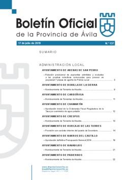 Boletín Oficial de la Provincia del miércoles, 17 de julio de 2019