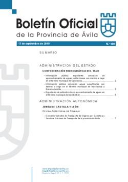 Boletín Oficial de la Provincia del martes, 17 de septiembre de 2019
