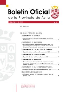Boletín Oficial de la Provincia del lunes, 18 de febrero de 2019