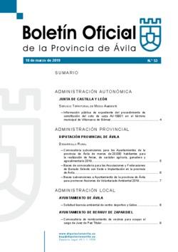 Boletín Oficial de la Provincia del lunes, 18 de marzo de 2019