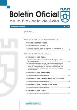 Boletín Oficial de la Provincia del jueves, 18 de julio de 2019
