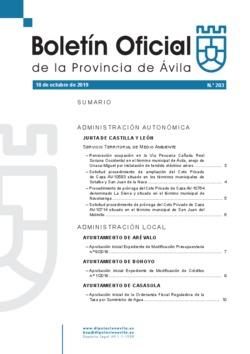 Boletín Oficial de la Provincia del viernes, 18 de octubre de 2019