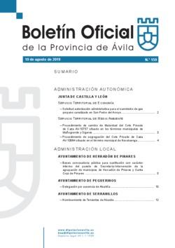 Boletín Oficial de la Provincia del lunes, 19 de agosto de 2019