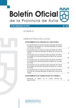 Boletín Oficial de la Provincia del jueves, 19 de septiembre de 2019