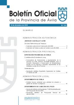 Boletín Oficial de la Provincia del jueves, 19 de diciembre de 2019