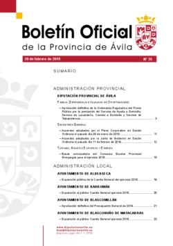 Boletín Oficial de la Provincia del miércoles, 20 de febrero de 2019