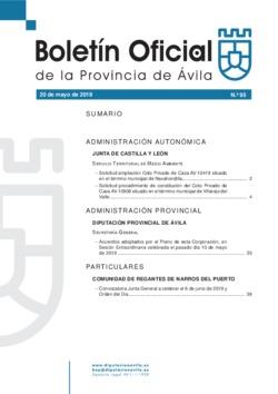 Boletín Oficial de la Provincia del lunes, 20 de mayo de 2019
