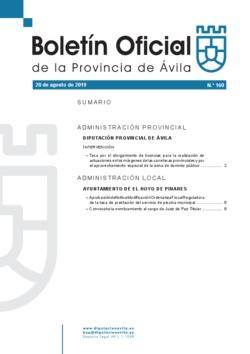 Boletín Oficial de la Provincia del martes, 20 de agosto de 2019