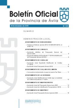Boletín Oficial de la Provincia del viernes, 20 de diciembre de 2019