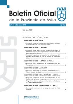Boletín Oficial de la Provincia del lunes, 21 de octubre de 2019