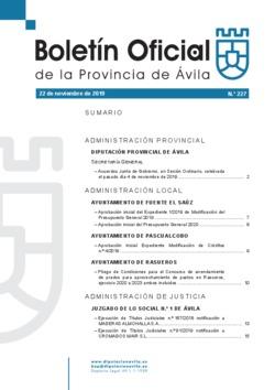 Boletín Oficial de la Provincia del viernes, 22 de noviembre de 2019