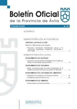 Boletín Oficial de la Provincia del martes, 23 de julio de 2019