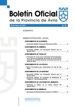 Boletín Oficial de la Provincia del lunes, 25 de marzo de 2019
