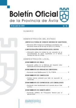 Boletín Oficial de la Provincia del jueves, 25 de abril de 2019
