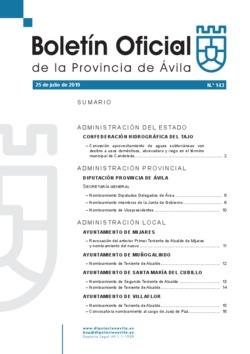 Boletín Oficial de la Provincia del jueves, 25 de julio de 2019